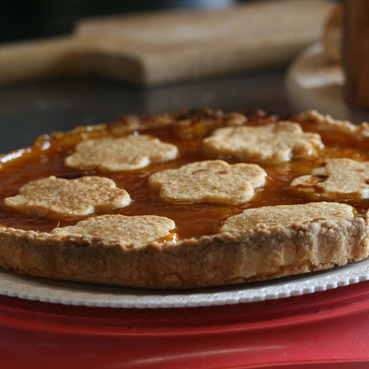 Homemade apricot jam tart