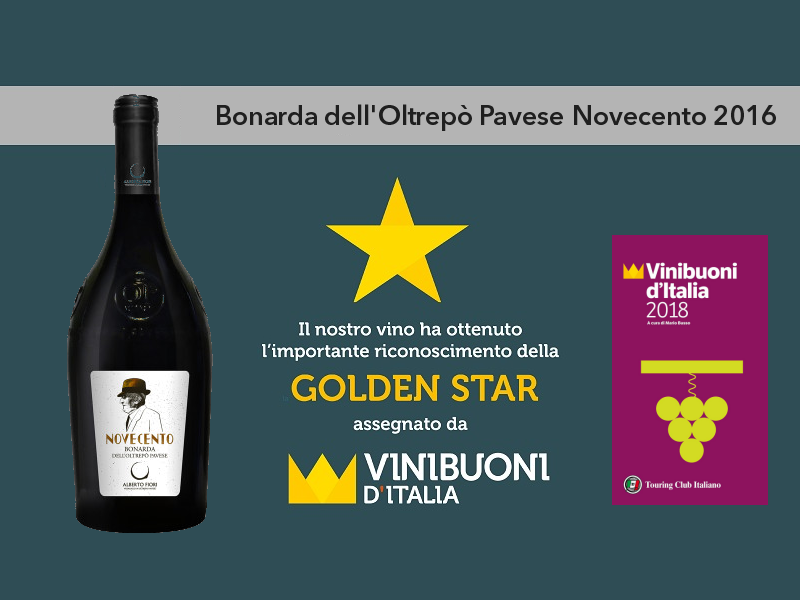 Vinibuoni d'Italia 2018 Golden Star Bonarda Novecento 2016
