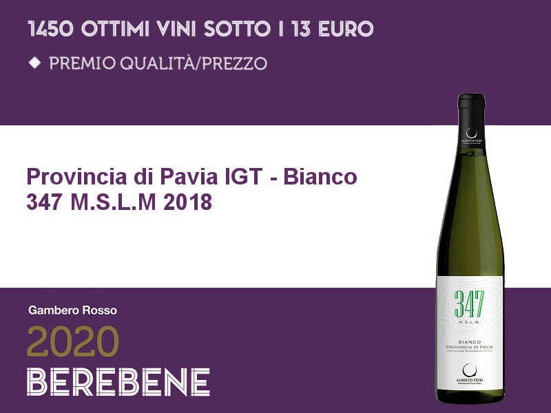 Berebene 2020 Oscar Qualità/prezzo 347 m. s.l.m. Bianco 2018